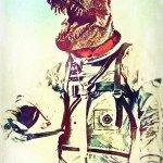 dinosauro in tuta da astronauta